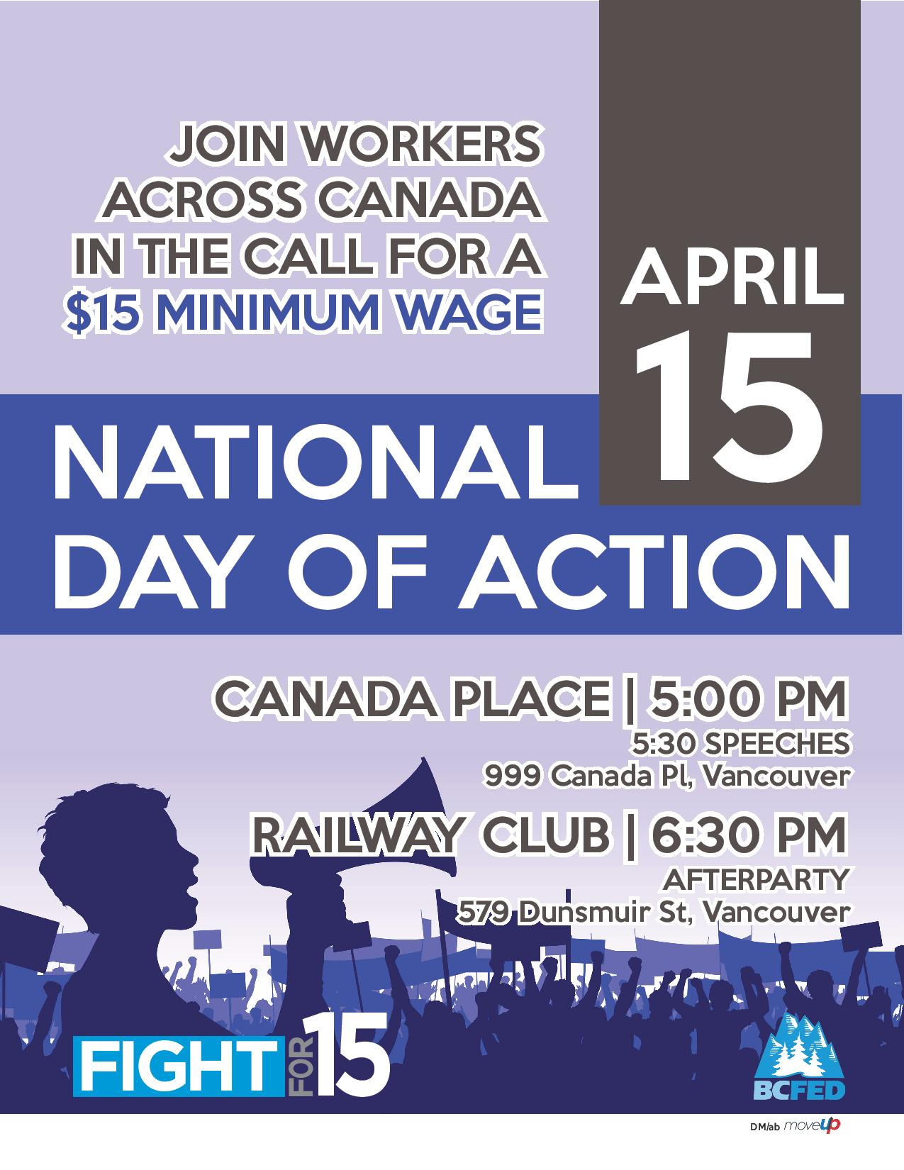 Fight for $15 National Day of Action Poster - Vancouver