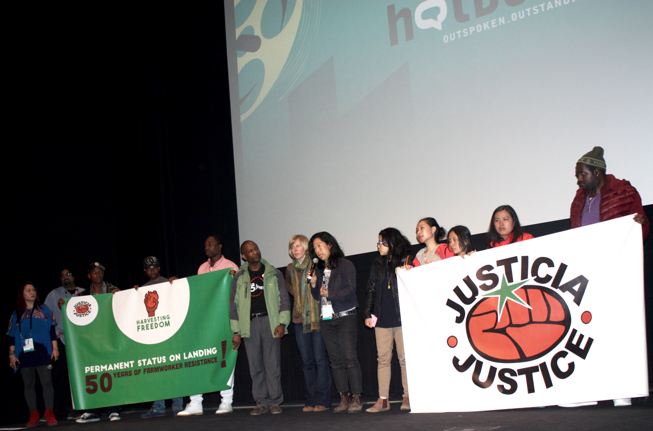 Migrant workers, activists with Justicia for Migrant Workers and the filmmakers celebrating the sold-out premiere of Migrant Dreams in Toronto on May 1st, 2016.