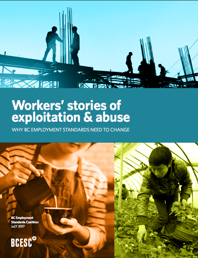 Image of cover of new report by BC ESC, Workers' stories of exploitation and abuse.